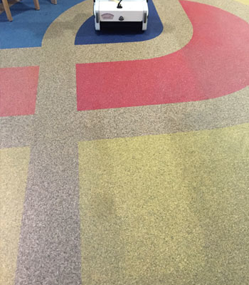 Steinteppichboden reinigen mit Maschine